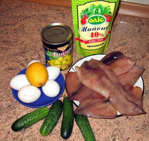 Ингредиенты для салата из кальмара